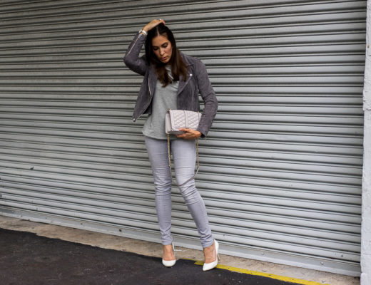 Chic Fall look includes a cozy grey sweater and Blank NYC suede jacket styled by fashion blogger Amanda of A Glam Lifestyle