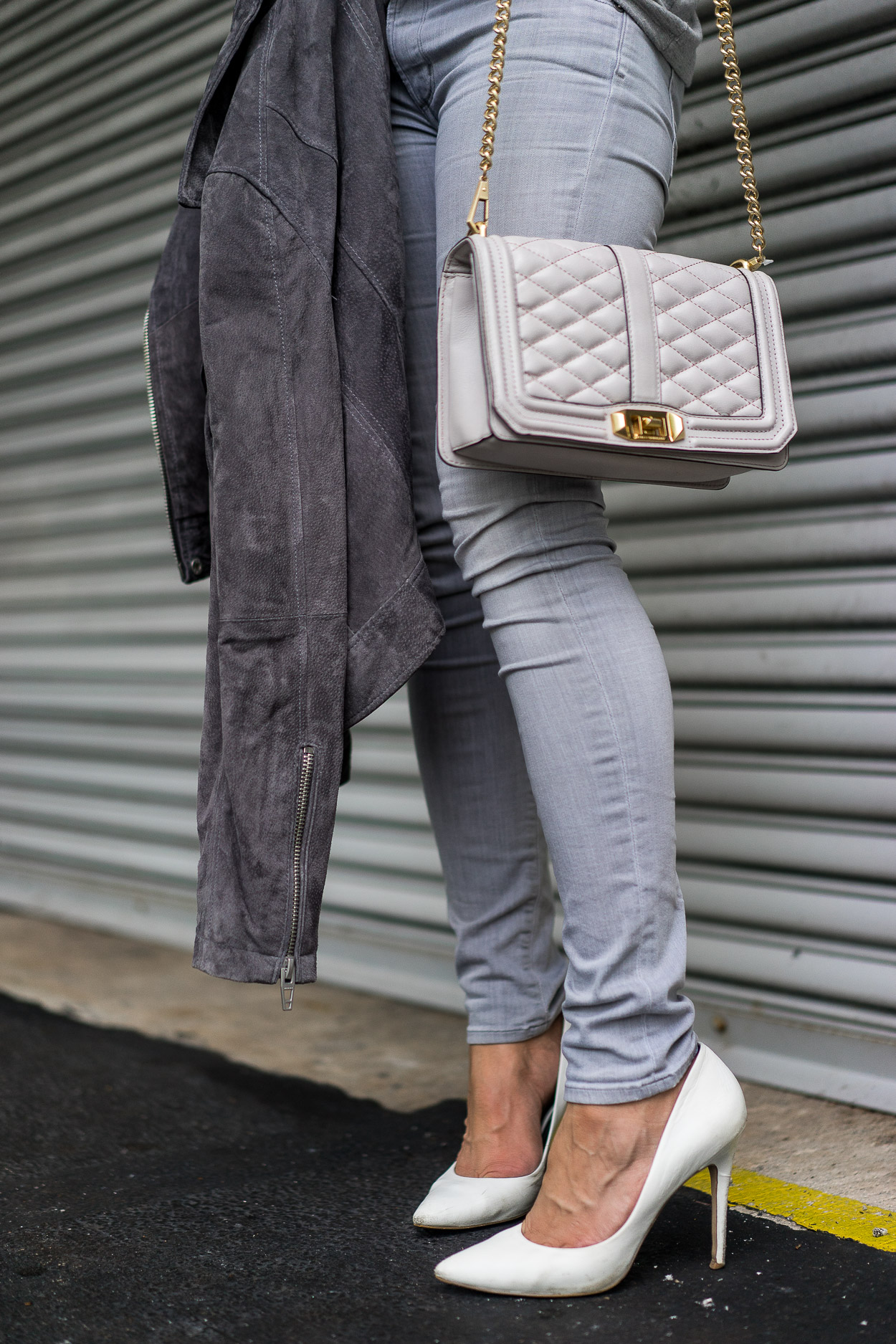 Blogger Amanda of A Glam Lifestyle wears Rebecca Minkoff Love Crossbody bag and Blank NYC grey suede jacket for easy Fall style