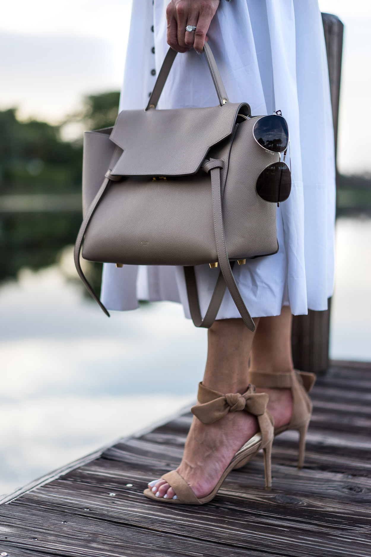 Celine belt bag and Banana Republic bow heels compliment Chicwish white summer dress styled by blogger AGlamLifestyle