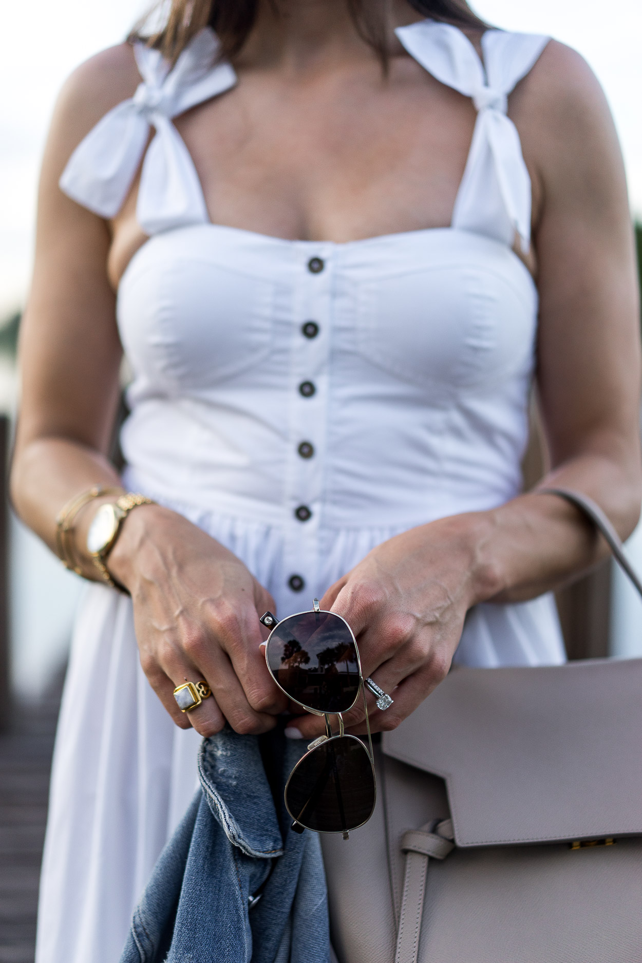 Chicwish white dress styled perfectly with Warby Parker aviators and Celine belt bag by Amanda of AGlamLifestyle blog