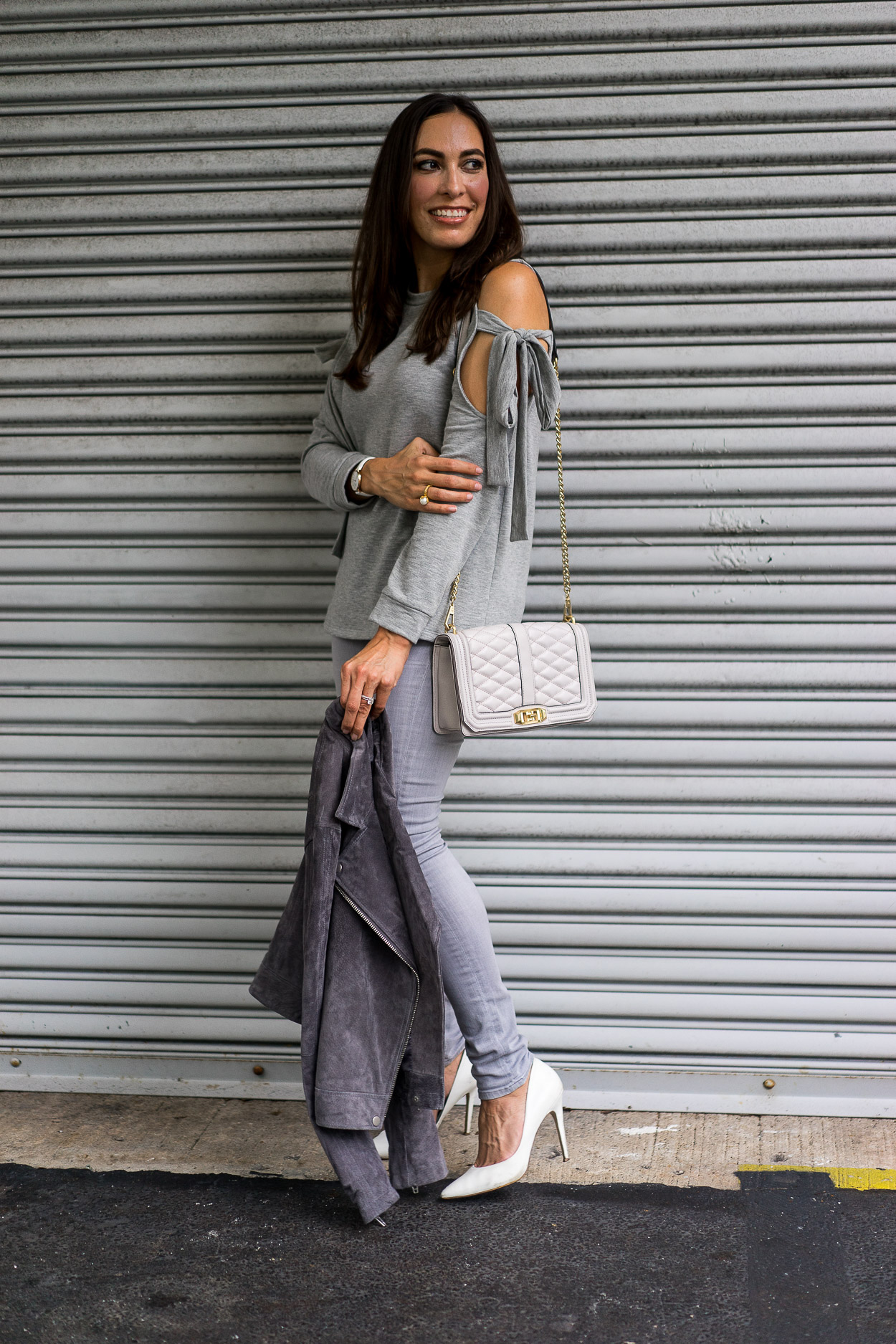Go monochrome in Fall with a cozy grey sweater and Rebecca Minkoff Love Crossbody bag, both in the Nordstrom Anniversary sale