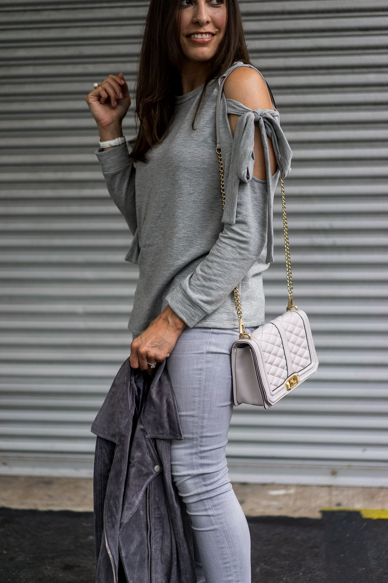 Stock up on a cozy grey sweater like this Pleione tie sleeve sweater from the Nordstrom Anniversary sale that ends today