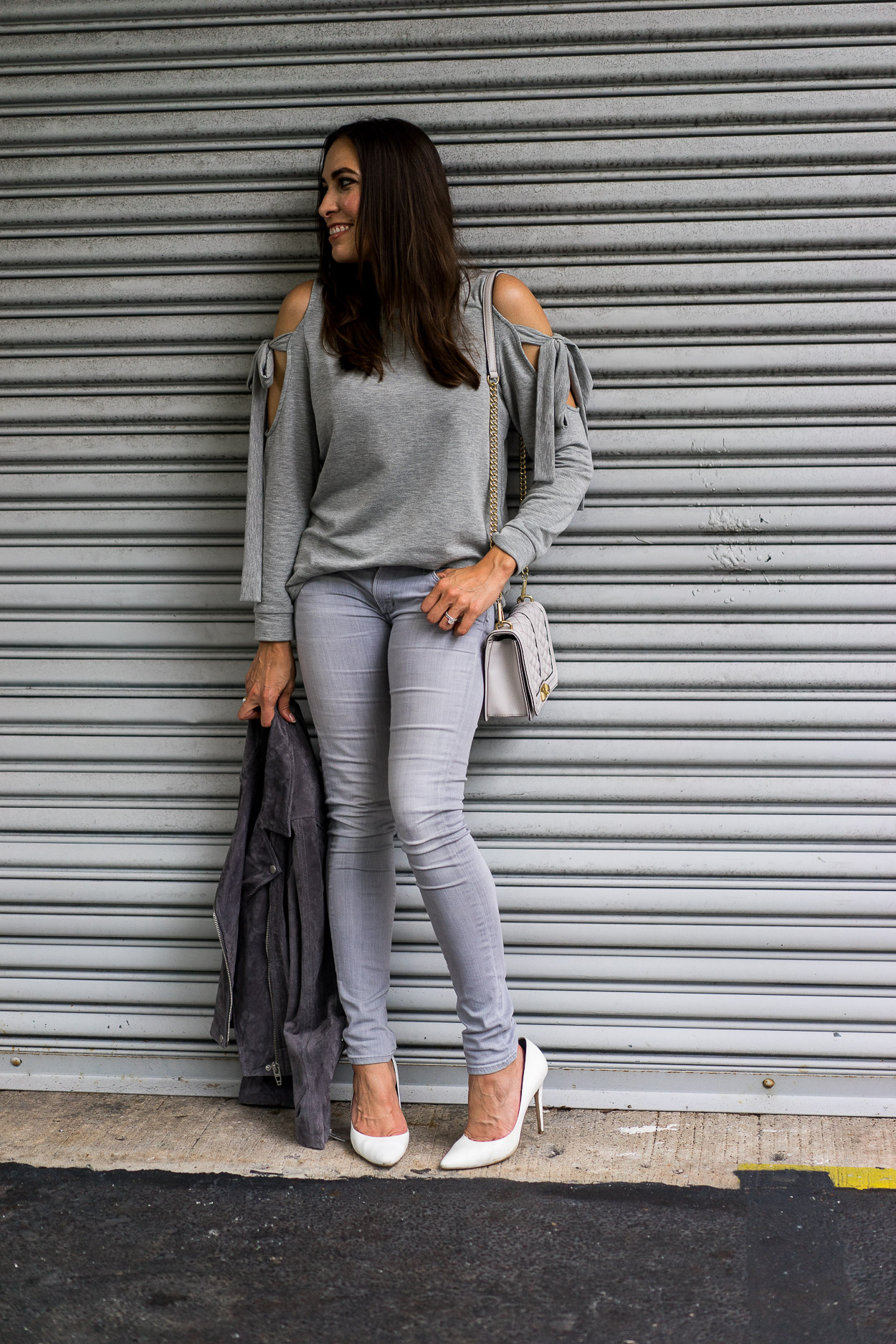 Last minute fave grey sweater from the Nordstrom Anniversary sale styled by Amanda of A Glam Lifestyle blog
