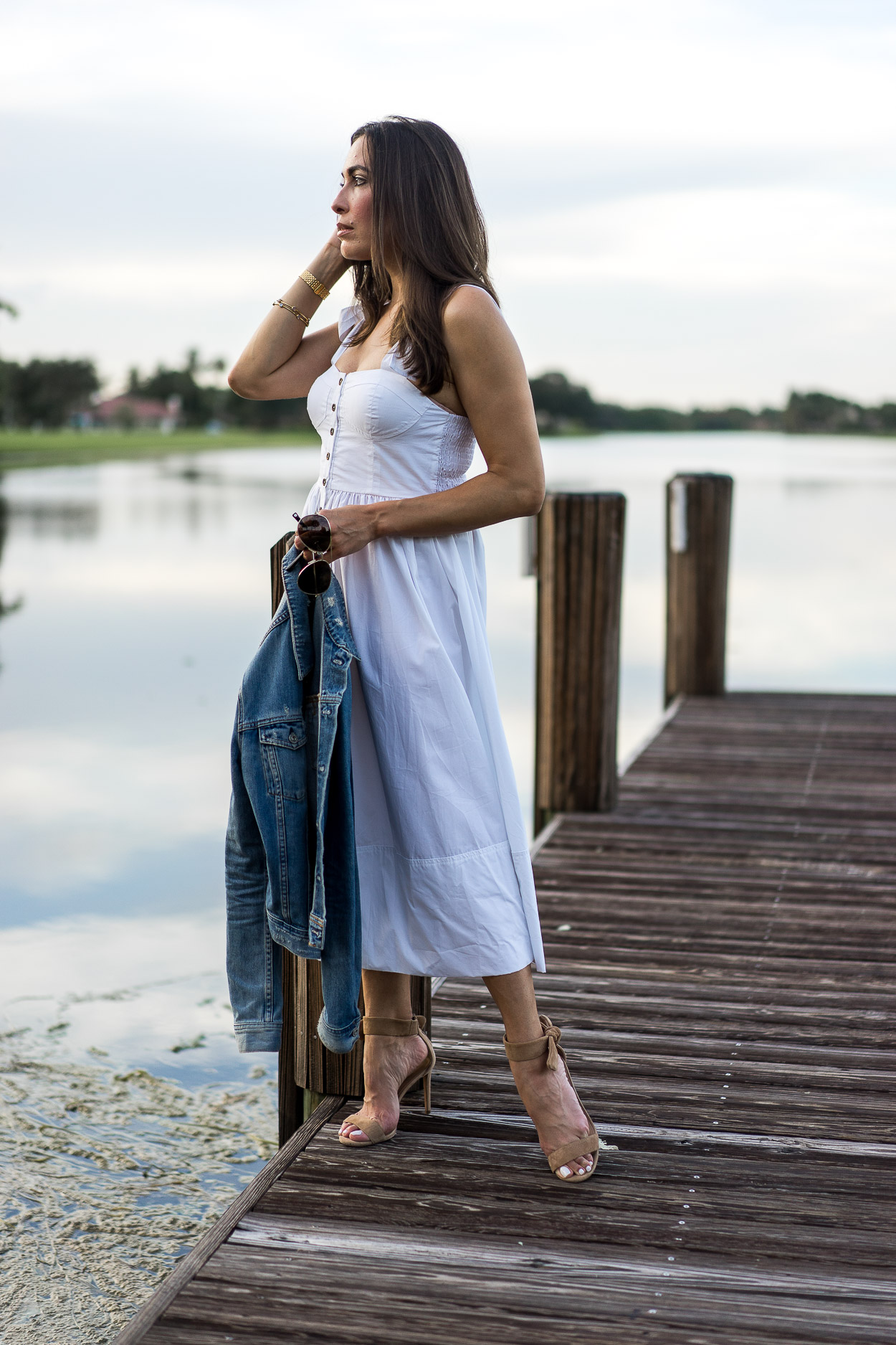 Summer white dresses are easy at the lake styled by AGlamLifestyle blogger Amanda