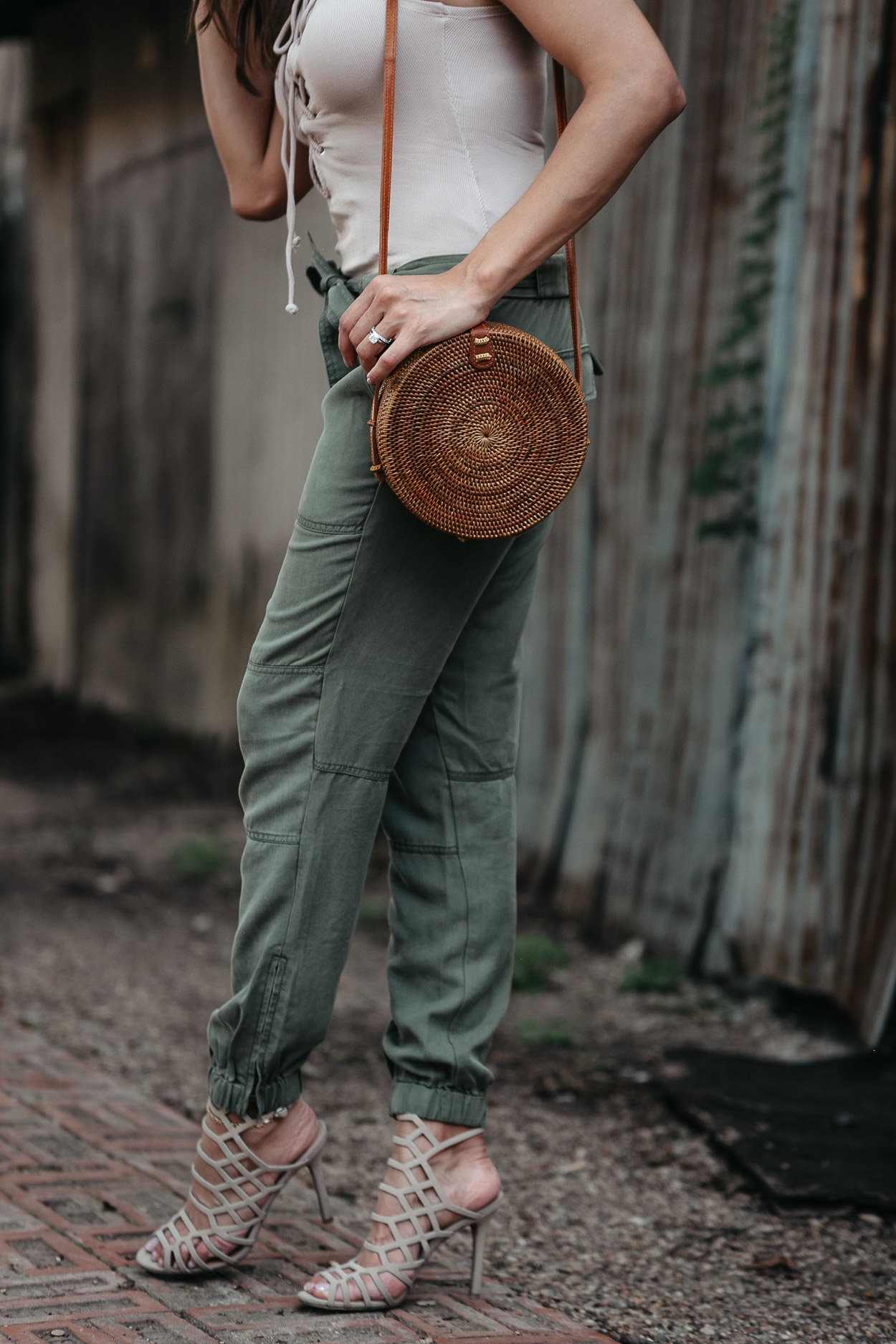 Super soft cargo pants from LOFT are worn with round basket bag by AGlamLifestyle blogger