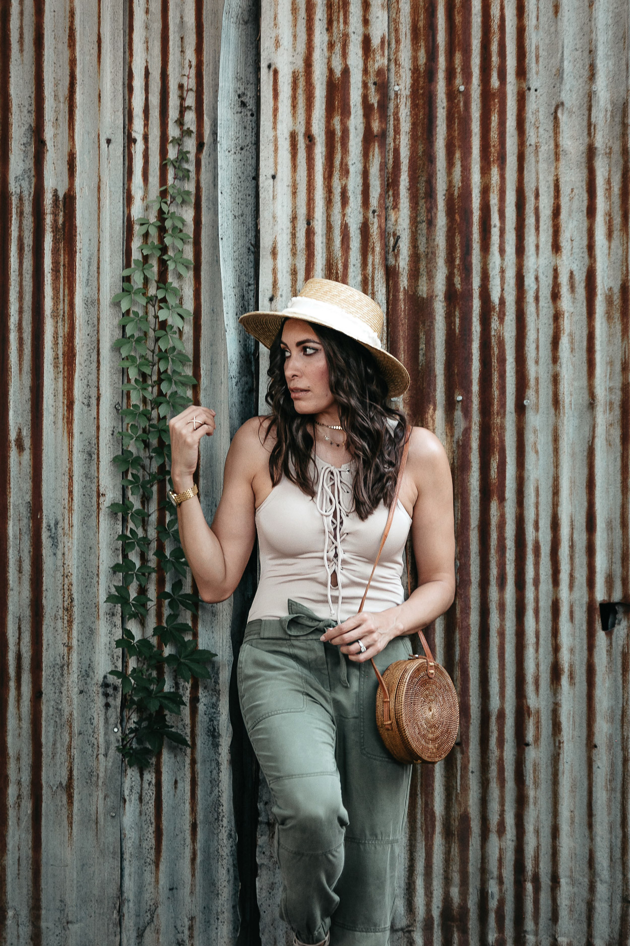 Lace up bodysuit by Tularosa is paired with LOFT cargo pants for a chic Summer look by A Glam Lifestyle blogger Amanda