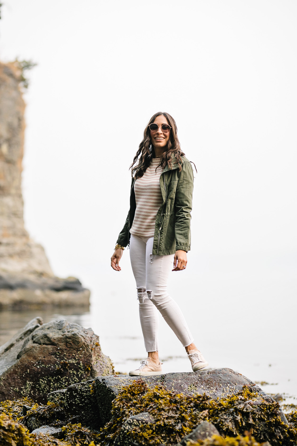 JCrew striped sweater is always affordable fall fashion as styled by AGlamLifestyle blogger Amanda in Vancouver at Siwash Rock