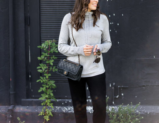 Grey cashmere hoodie is simple airport style when paired with classic Chanel bag and Warby Parker aviators like Amanda of A Glam Lifestyle blog