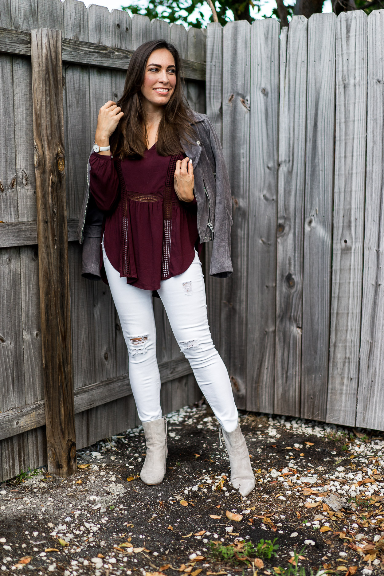 For a casual Fall outfit throw on a pretty Gentle Fawn top with a Blank NYC grey suede jacket and Linea Paolo grey ankle booties