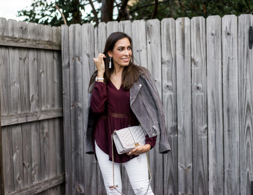 Casual Fall outfit is paired with SugarFix x Baublebar earrings and Gentle Fawn top for a light layer
