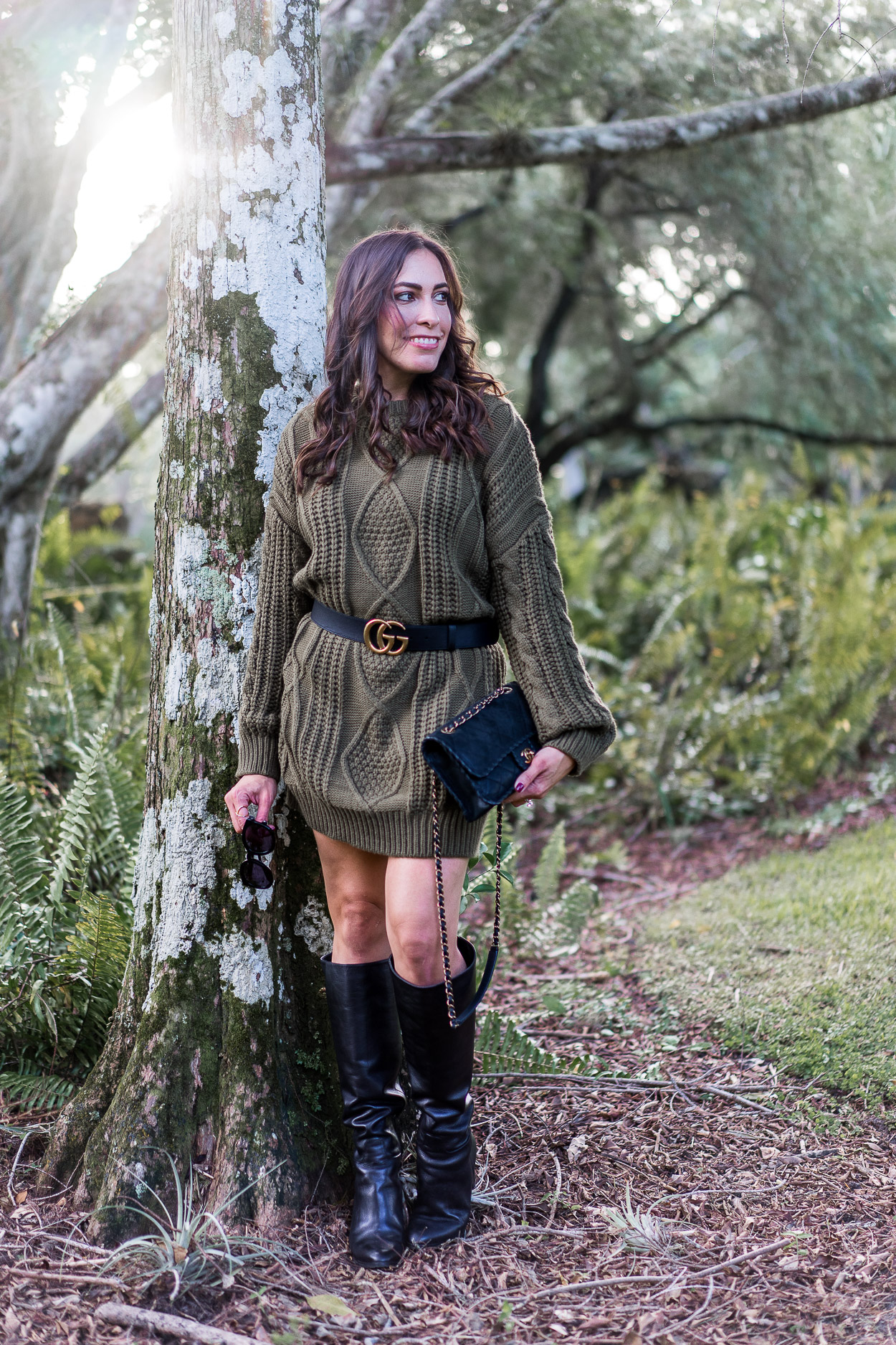 Army green Chicwish sweater dress is styled by Amanda of A Glam Lifestyle blog with her Gucci Double G belt, Chanel black bag and M Gemi boots