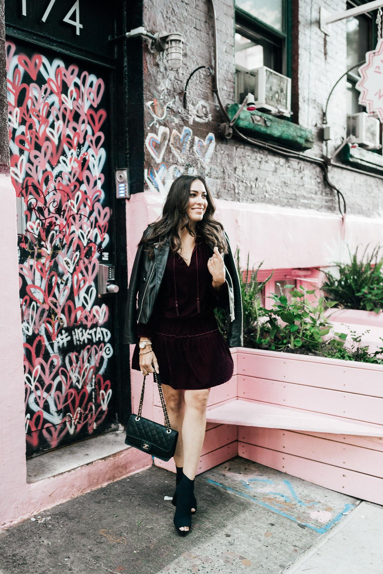 AGlamLifestyle blogger visits NYC hotspot Pietro Nolita wearing Ella Moss dress for the velvet dress trend during NYFW