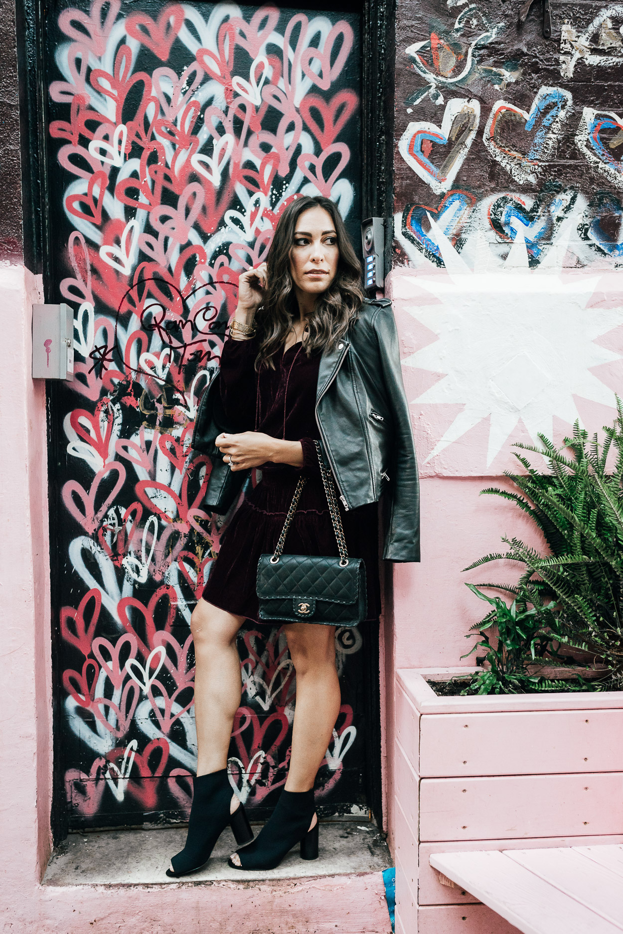 Ella Moss dress at Pietro Nolita worn by A Glam Lifestyle blogger during NYFW for the velvet dress trend