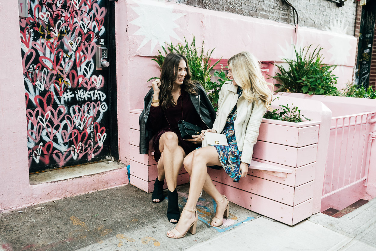 Blogger Amanda of A Glam Lifestyle wears Ella Moss dress at Pietro Nolita with Kristen from A Glamorous Gal blog