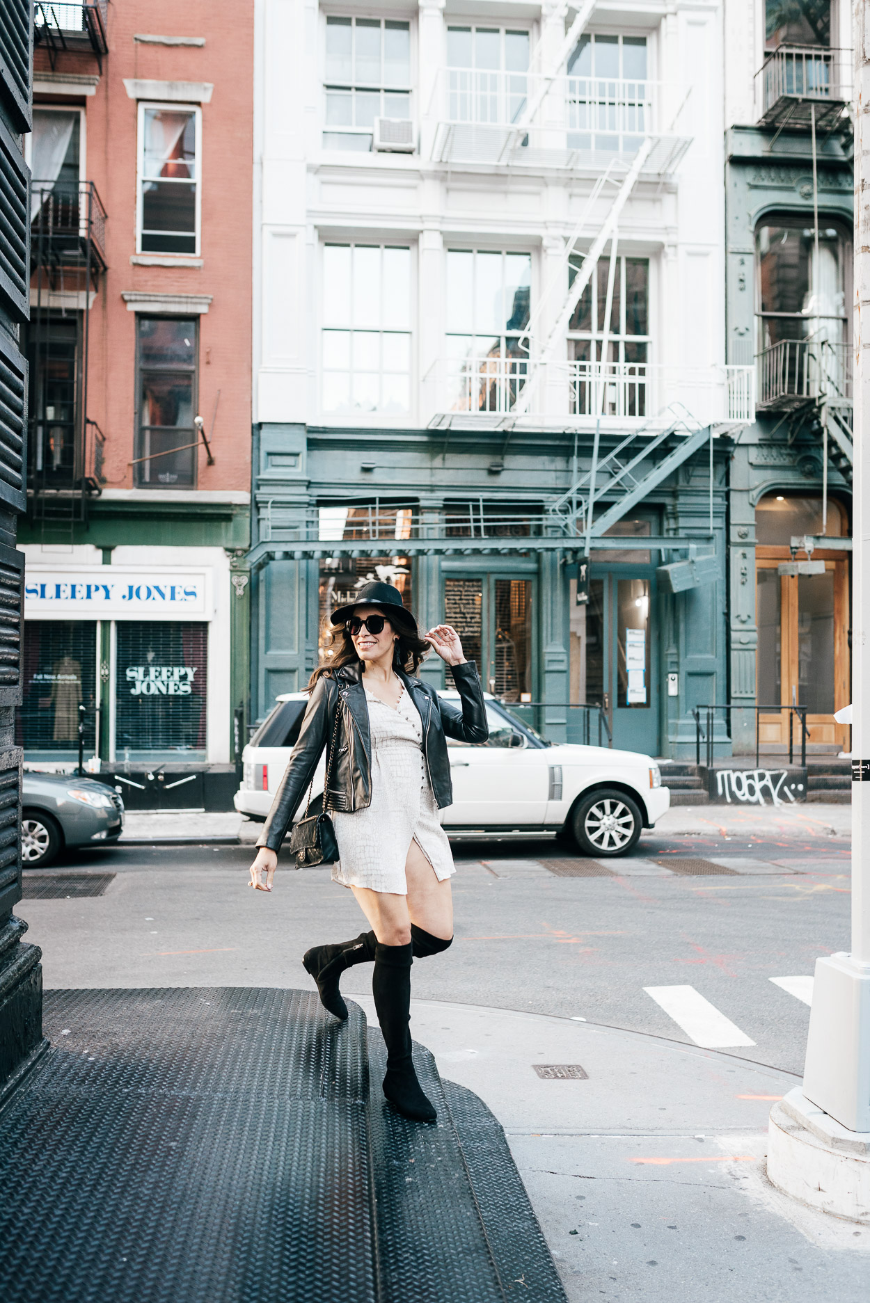 Blogger Amanda wears Gentle Fawn Elijah dress in Soho during NYFW SS18 presentations