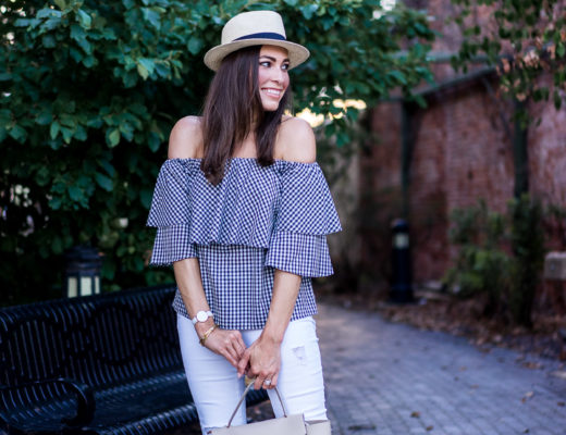 Pretty Wayf gingham top can be worn with white distressed denim to transition an off the shoulder top from Summer to Fall