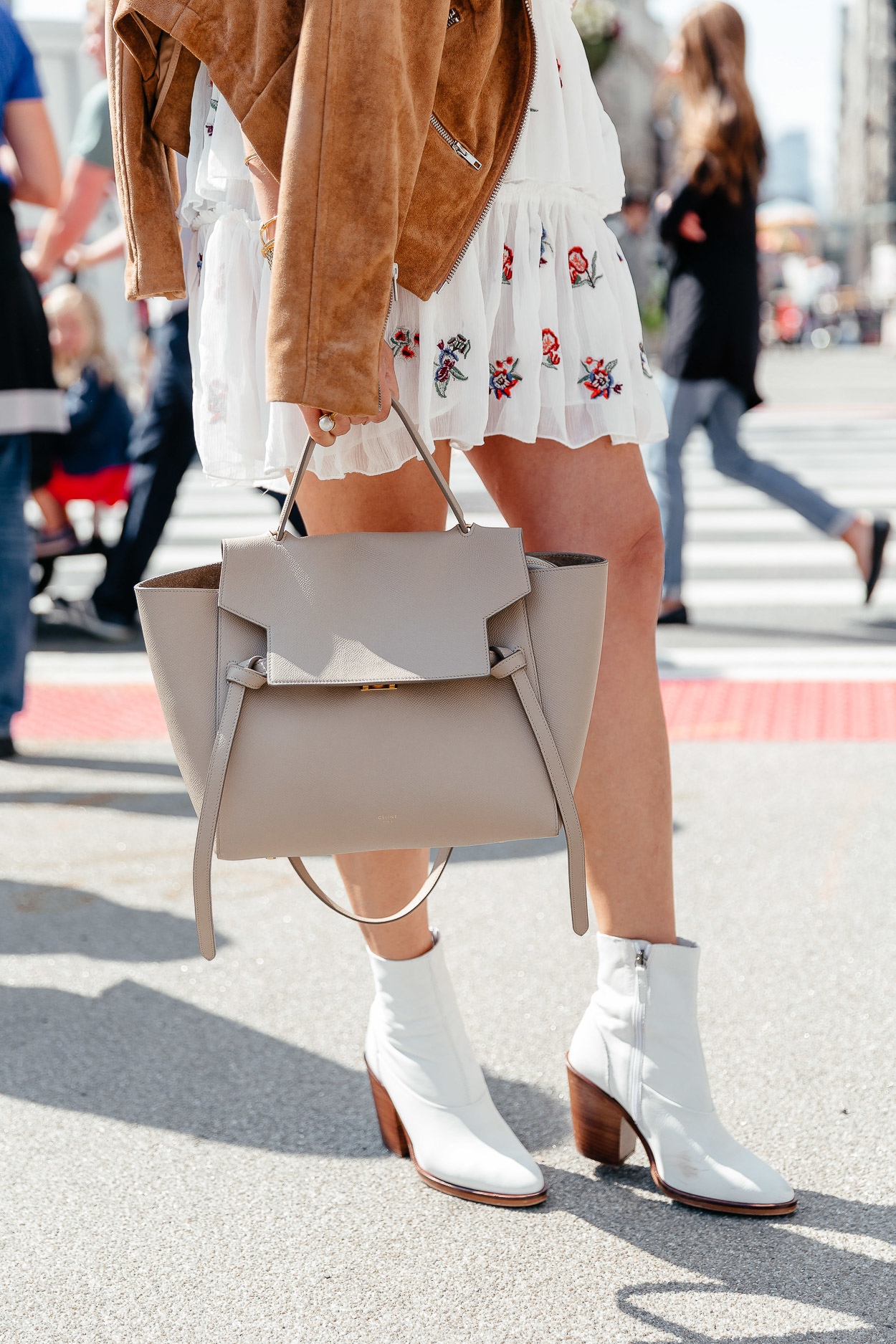Topshop white booties and Celine belt bag are perfect accessories for NYFW as seen on blogger A Glam Lifestyle