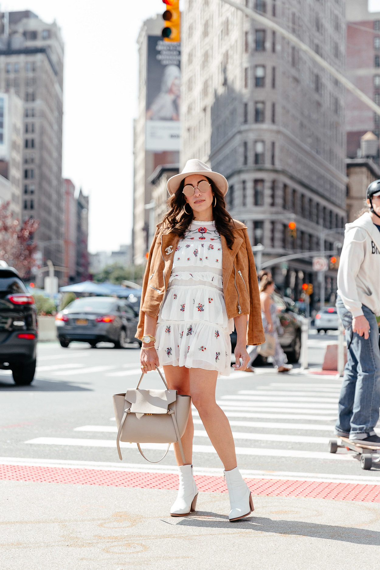 Topshop white booties and Chicwish tiered floral dress were the final look at NYFW for Amanda of A Glam Lifestyle blog