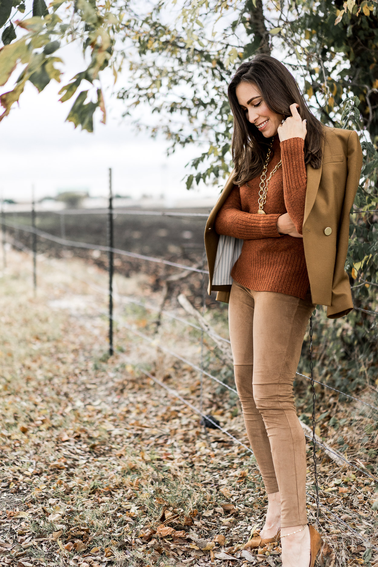 AGlamLifestyle bloggers pairs J.Crew blazer with Madwell sweater and suede leggings for her Thanksgiving outfit