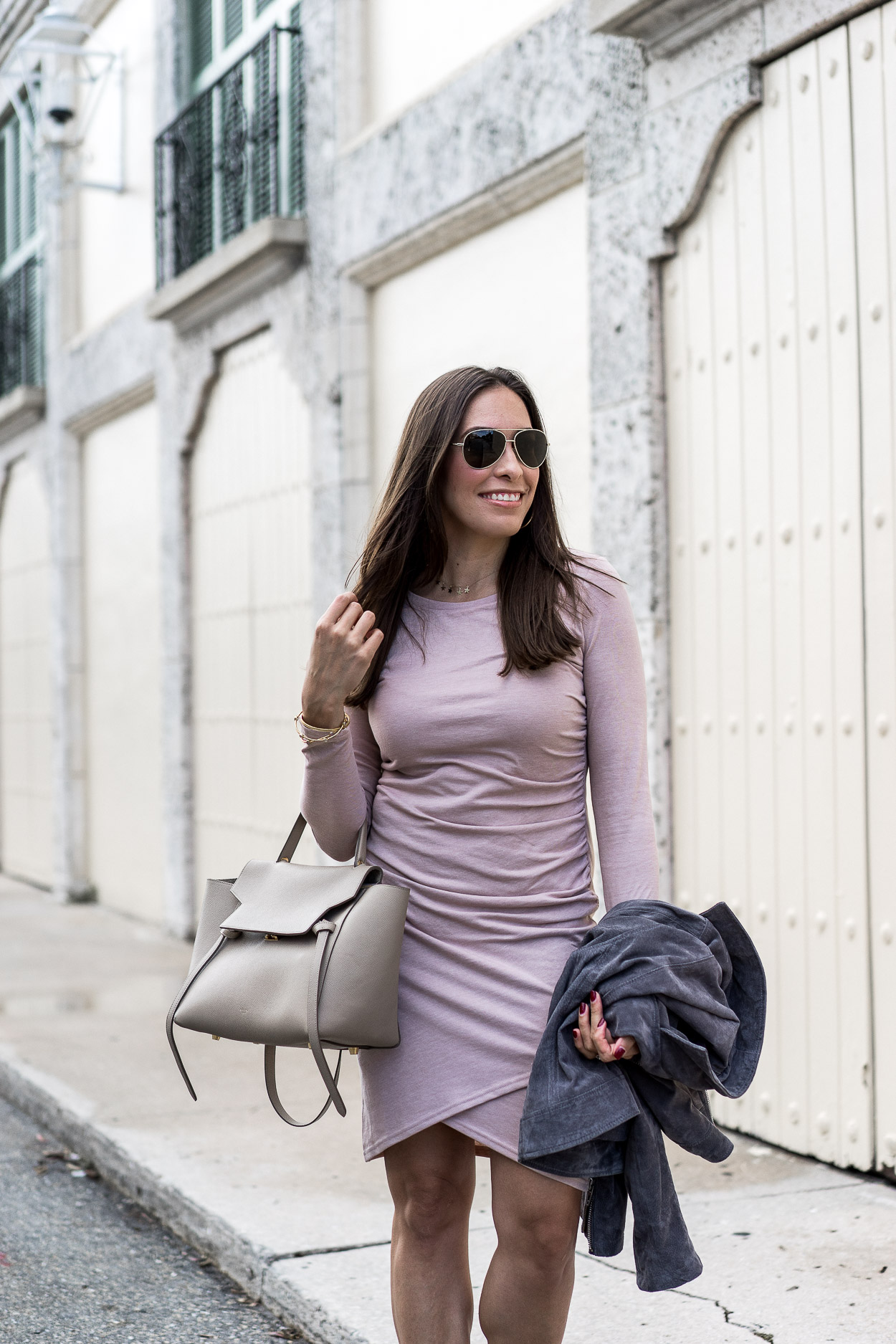 AGlamLifestyle blogger wears blush Leith ruched dress with Celine Belt bag in downtown Fort lauderdale