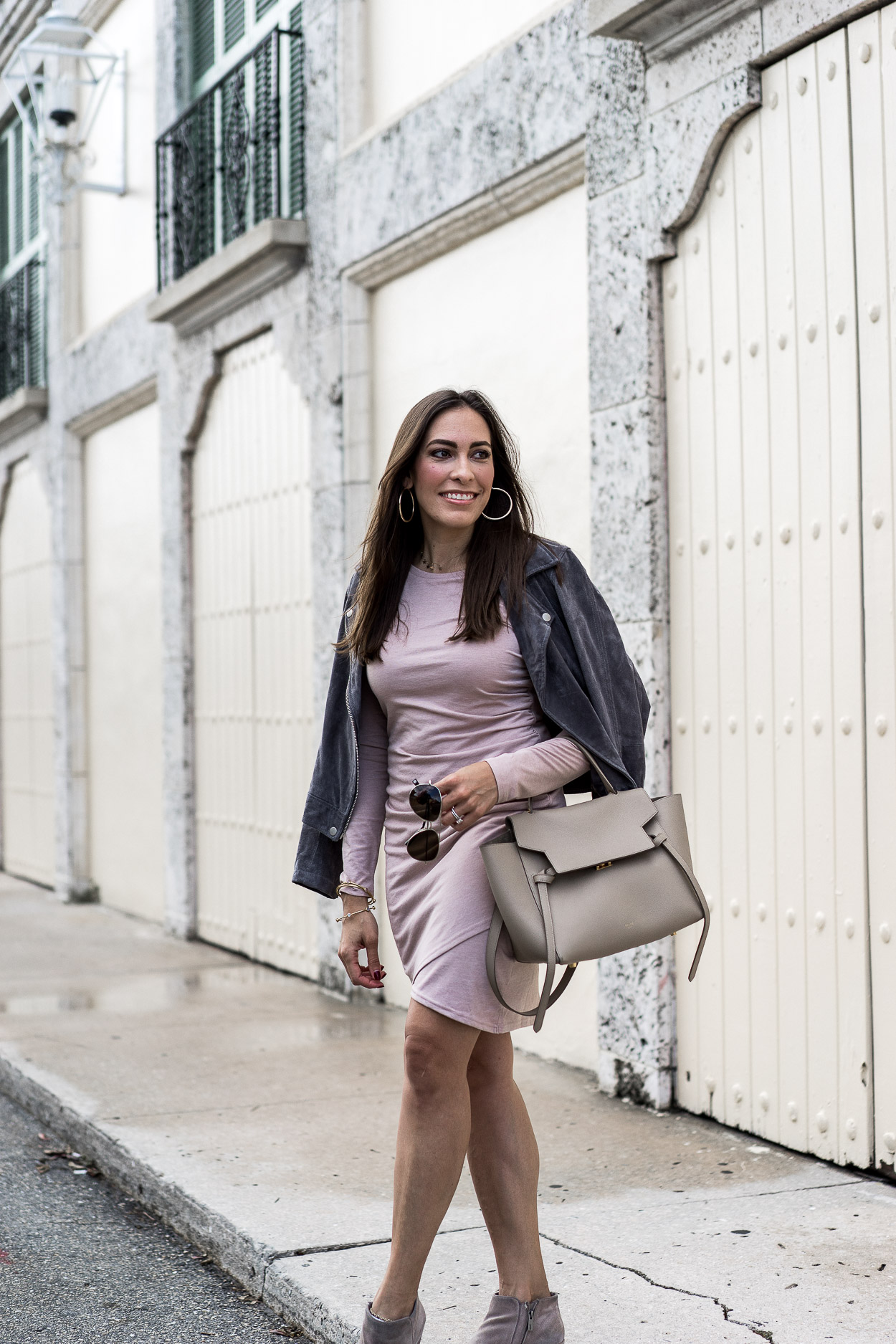 South Florida style blogger Amanda wears Leith ruched dress with BlankNYC grey suede jacket