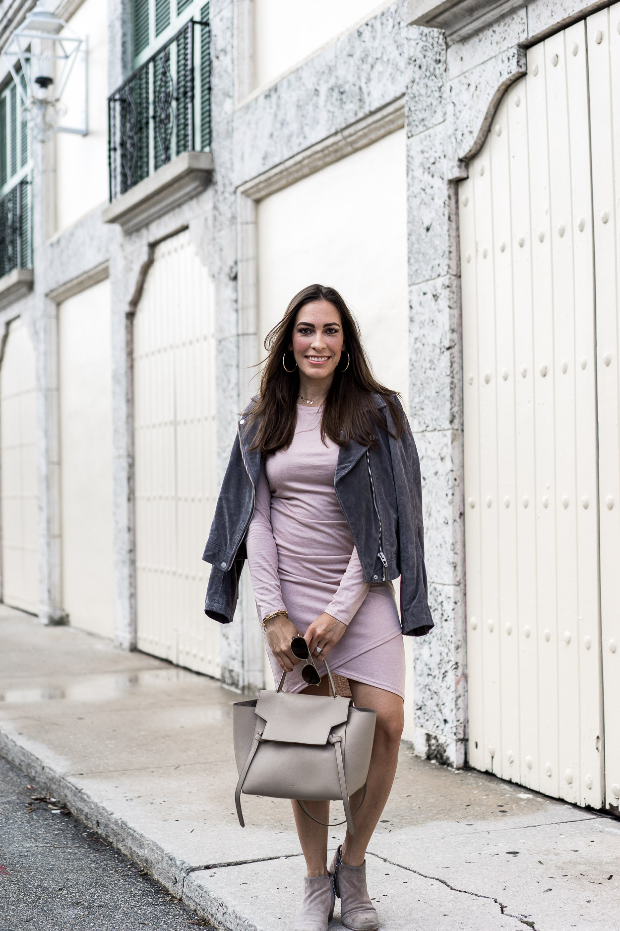 Neutral basics include a blush Leith dress and grey suede BlankNYC jacket as worn by A Glam Lifestyle blogger Amanda