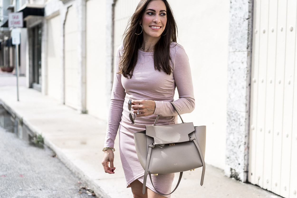 Blush Leith dress and nude Celine Belt bag are the perfect combo worn by Amanda of A Glam Lifestyle blog