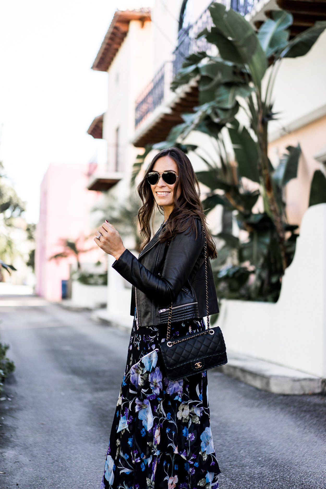 The best brunch outfits include this 3.1 Phillip Lim floral dress styled by A Glam Lifestyle blogger