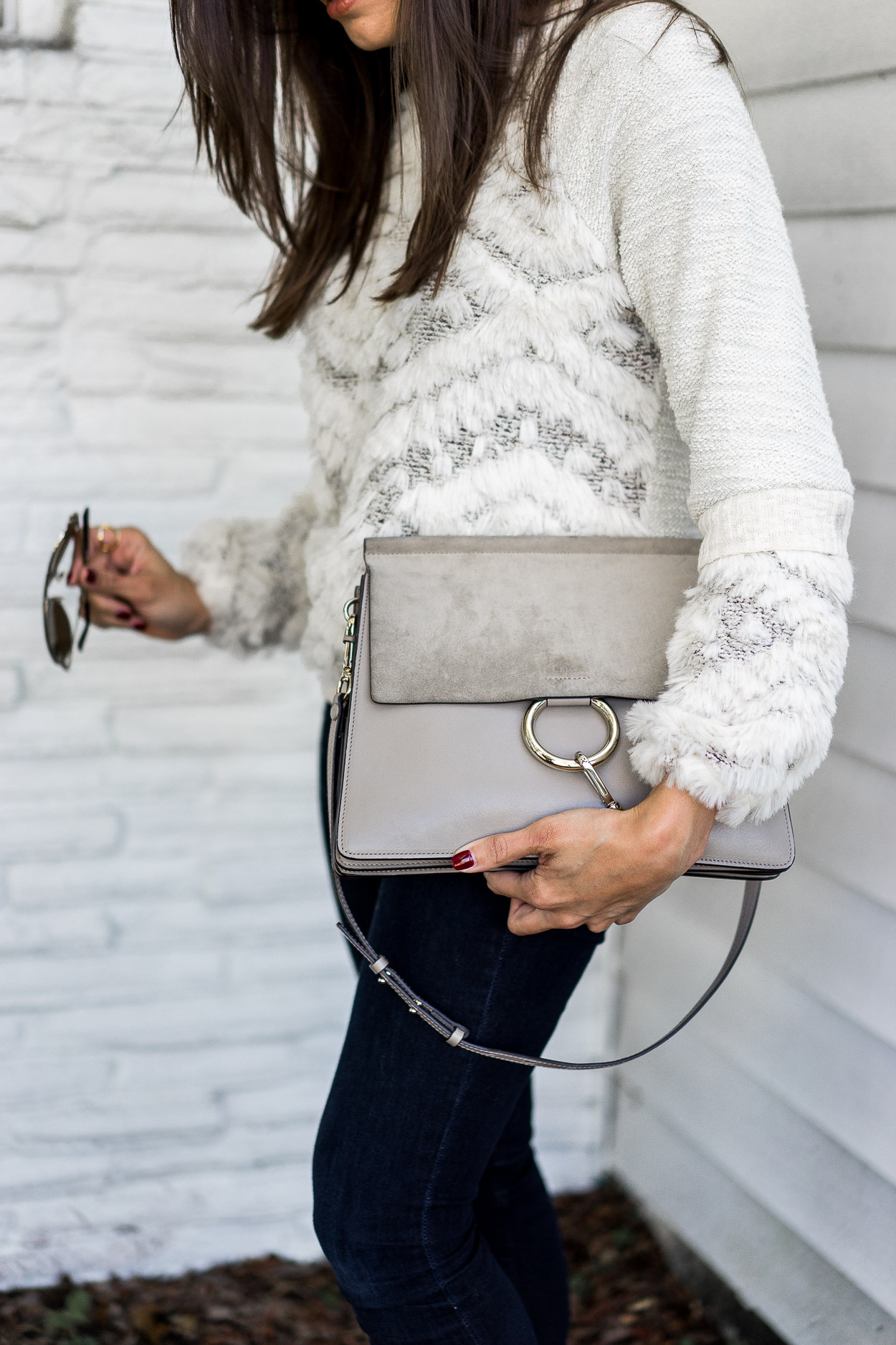 Pair your Chloe Faye bag with cozy sweaters during the holidays