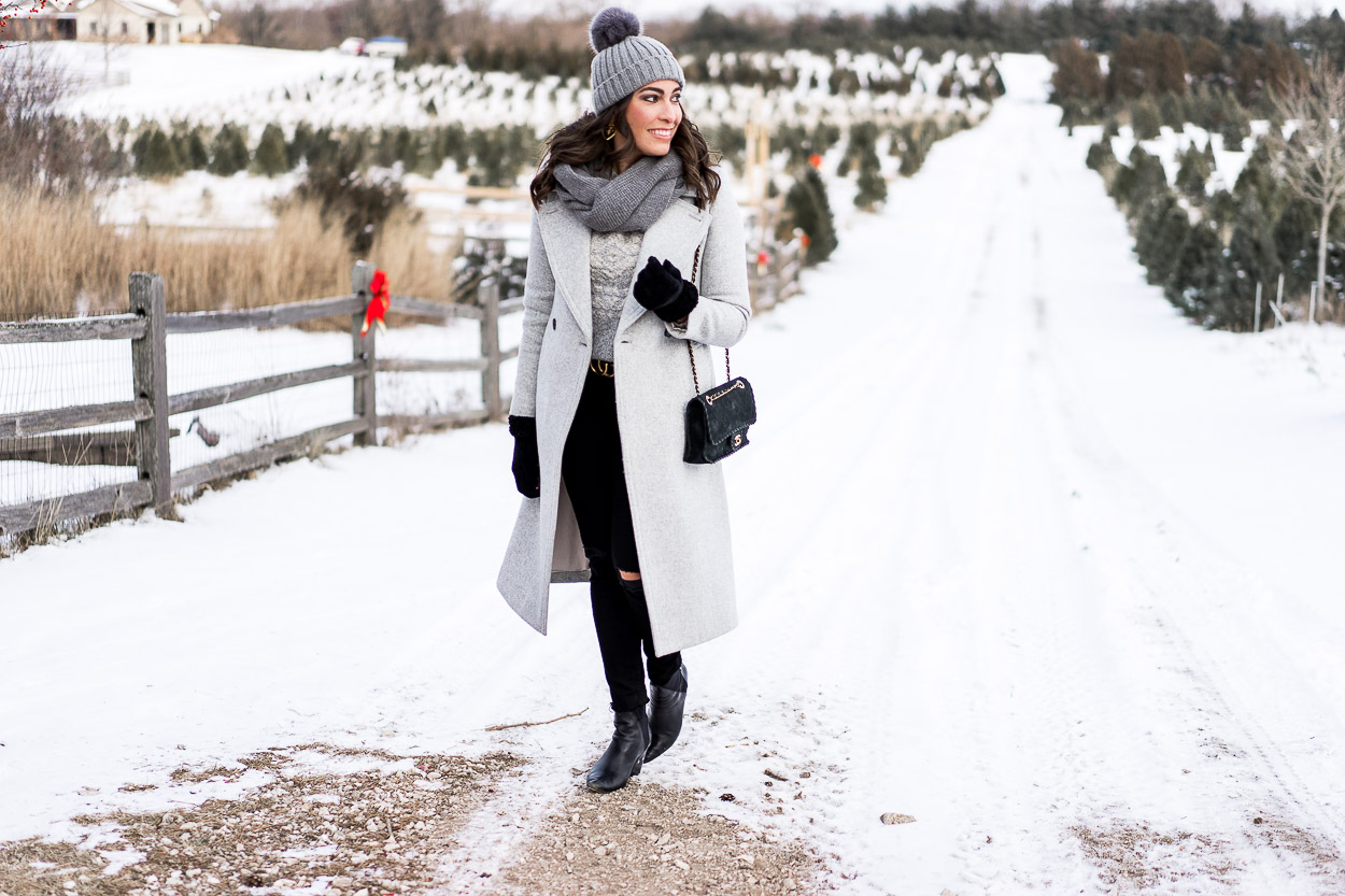 Pine Grove Farm offers all the natural beauty for a picturesque Christmas background for fashion blogger A Glam Lifestyle