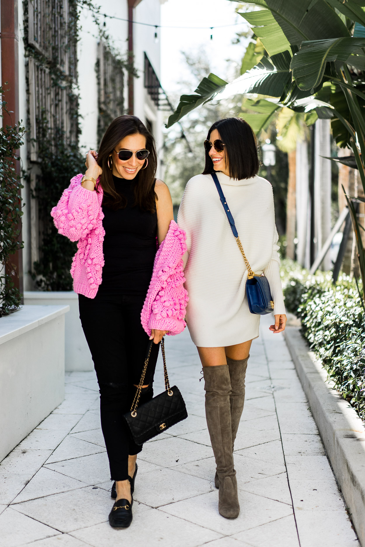 Amanda of A Glam Lifestyle blog wears pink pom pom sweater while out with Caitlin of Sauci Style on Las Olas for NYFW outfit planning