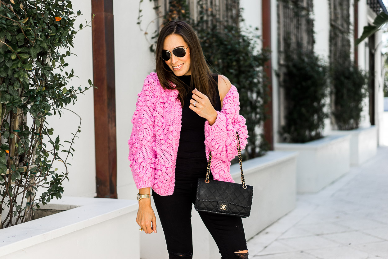 Blogger approved pom pom cardigan is styled by Amanda of A Glam Lifestyle blog with her Mother distressed denim and classic Chanel bag