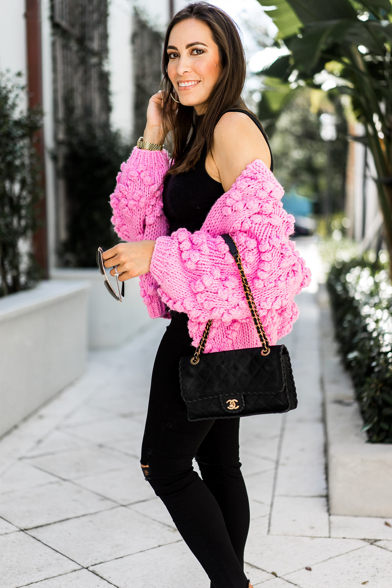 Stand out in this pink pom pom sweater like fashion blogger Amanda for your easy Valentine's day look