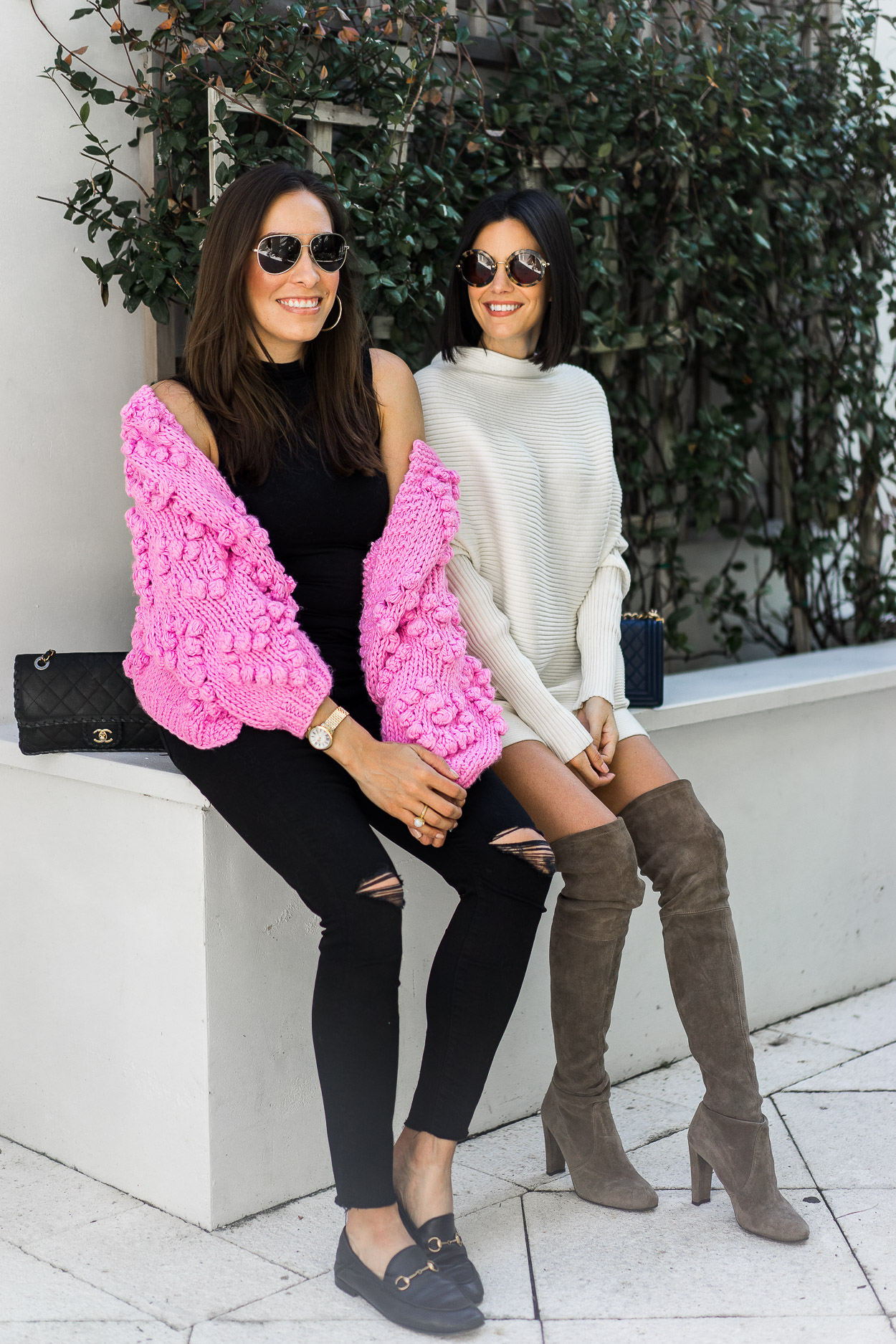 Amanda wears pink Chicwish pom pom cardigan and Caitlin wears white Intermix tunic dress for blogger style at its best