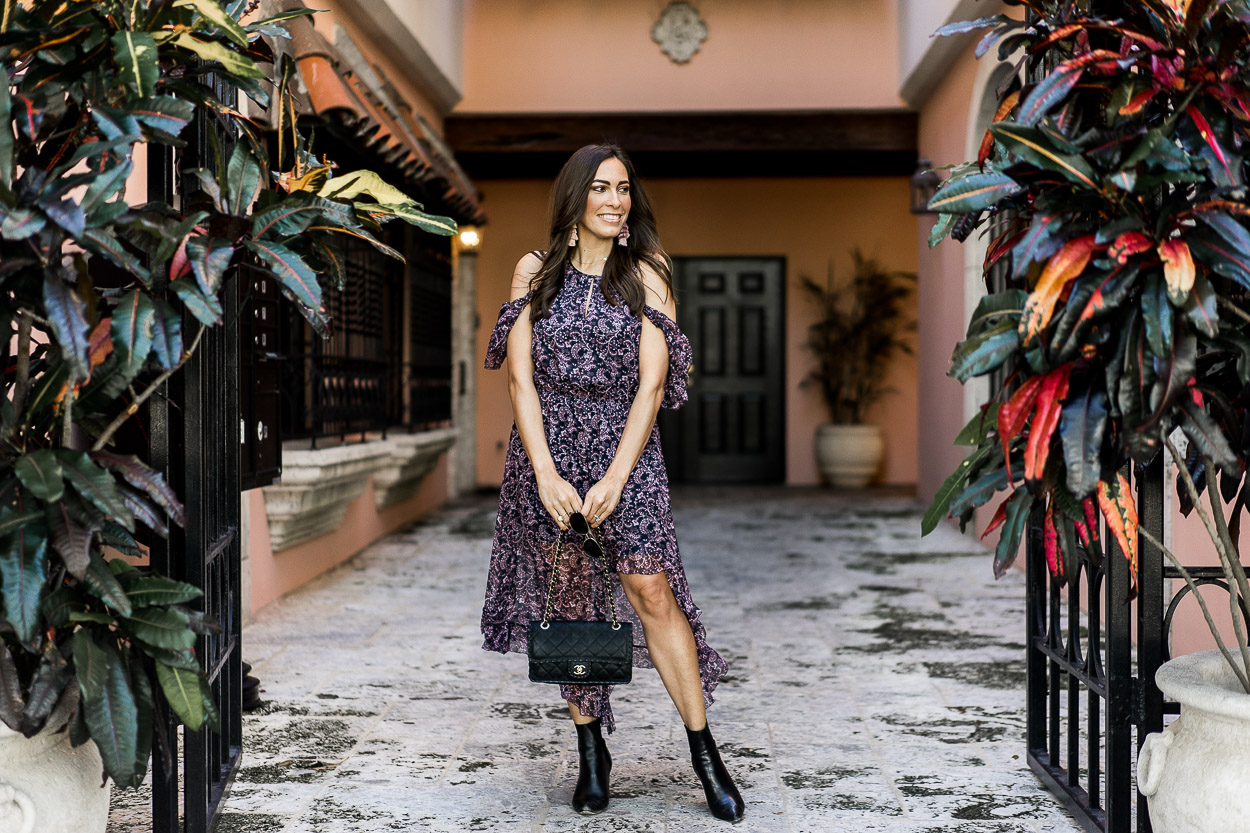 6eadb92d393 ... Easy date night outfit with a Joie floral dress and ASKA Collection  Troy boots worn by · A Glam LIfestyle blogger ...