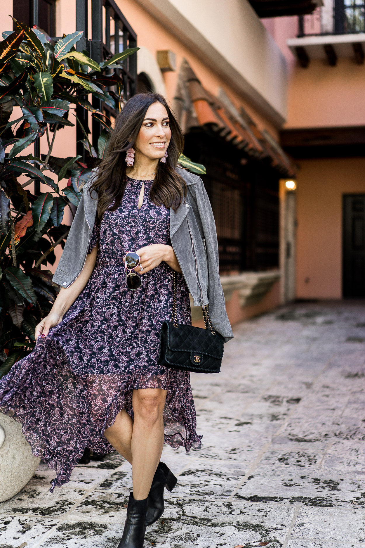 Get all your winter date night outfits from Saks like this gorgeous Joie Agnek hi low floral dress styled by fashion blogger A Glam Lifestyle