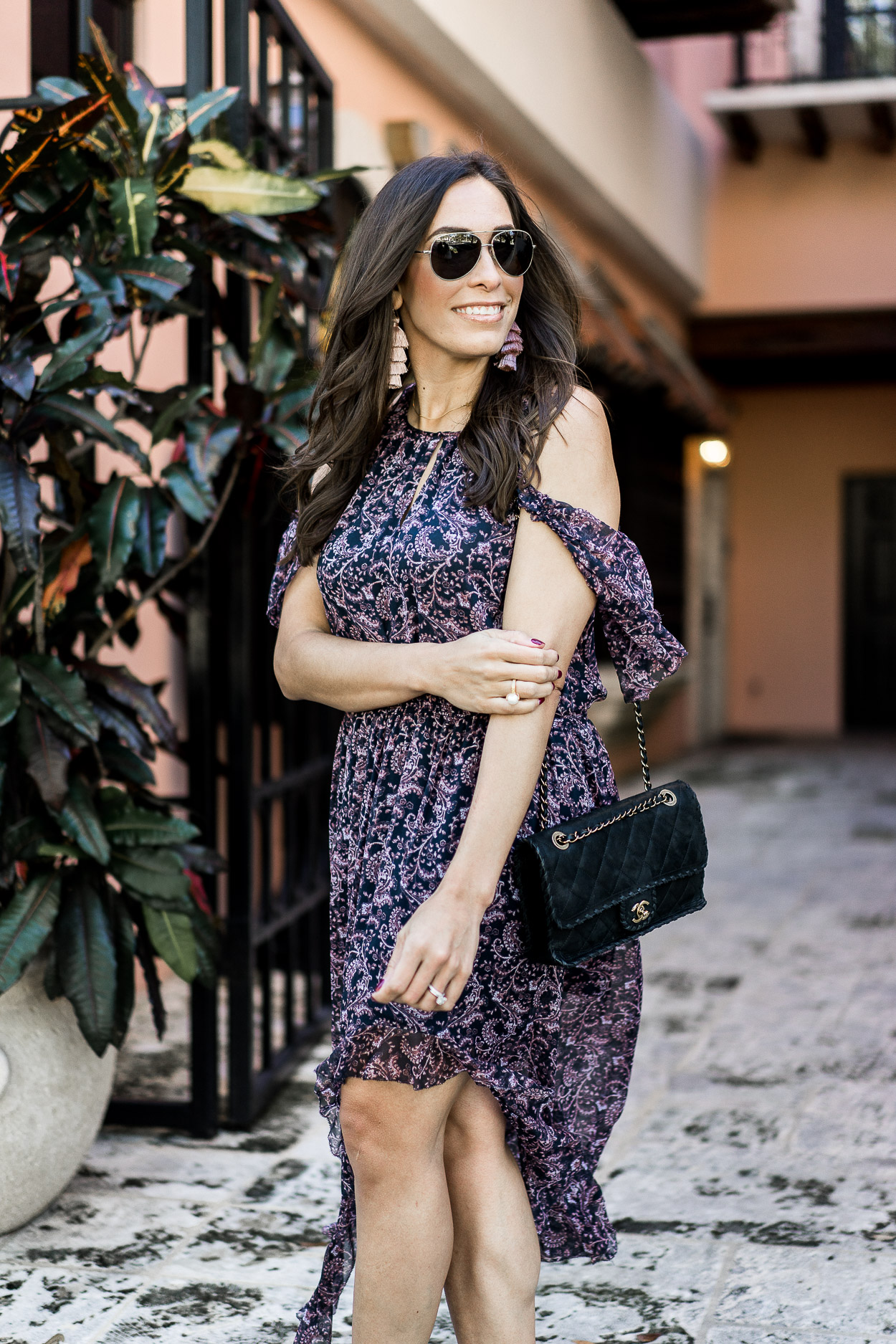 Fashion blogger Amanda of A Glam Lifestyle blog wears Joie Agnek dress for an easy date night outfit