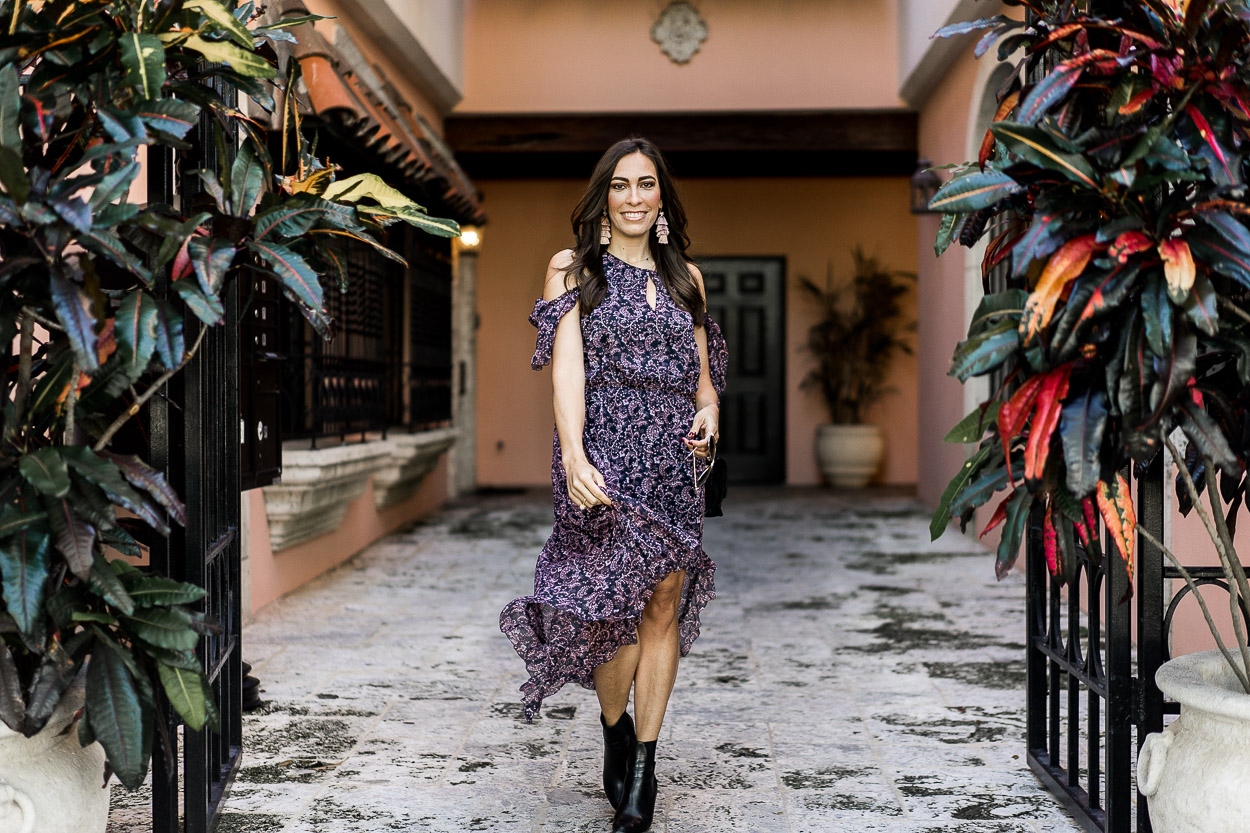 Saks Fifth Avenue has all the best items for easy date night outfits, like this Joie hi low ruffle print dress styled by Amanda of A Glam Lifestyle blog