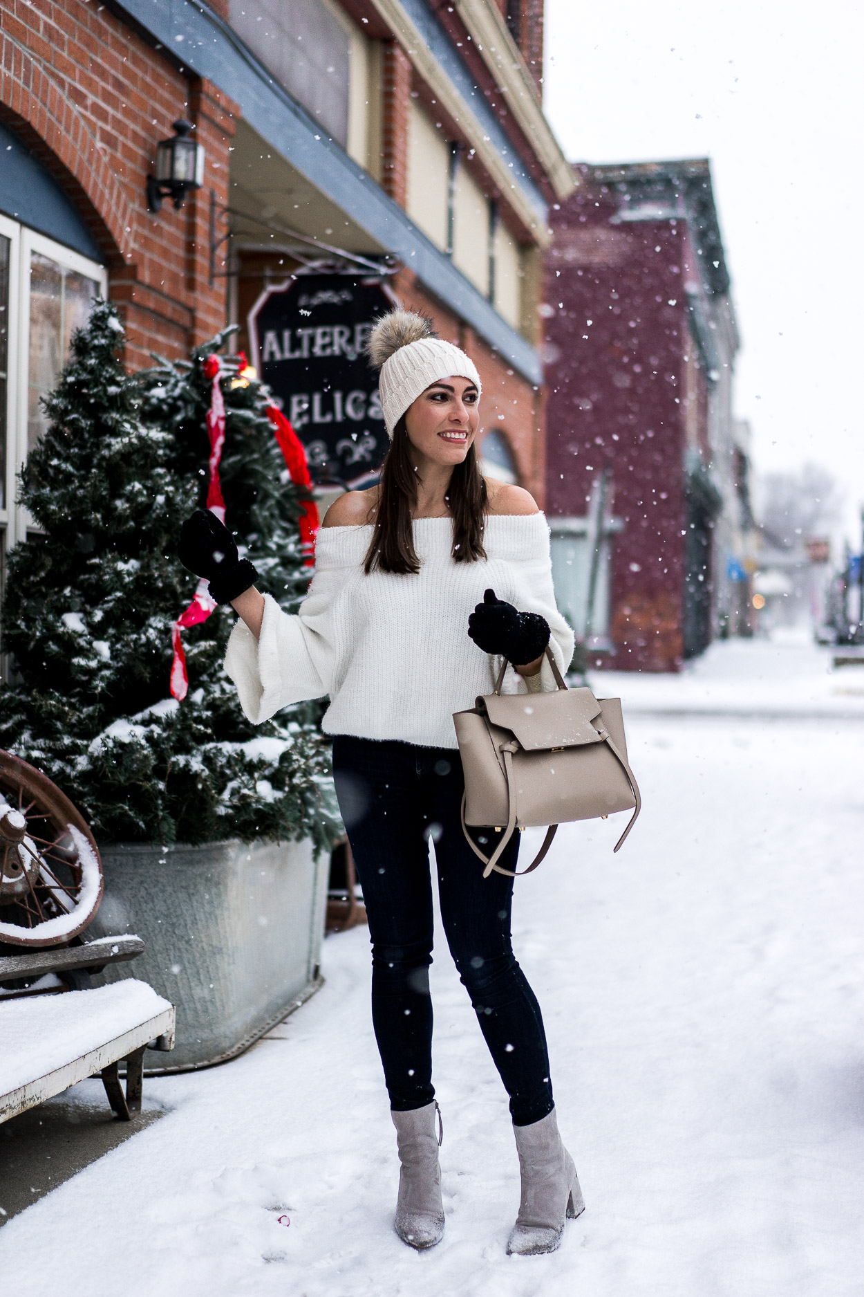 Grab this fuzzy off the shoulder sweater from Chicwish for an easy date night outfit a la blogger Amanda of A Glam Lifestyle