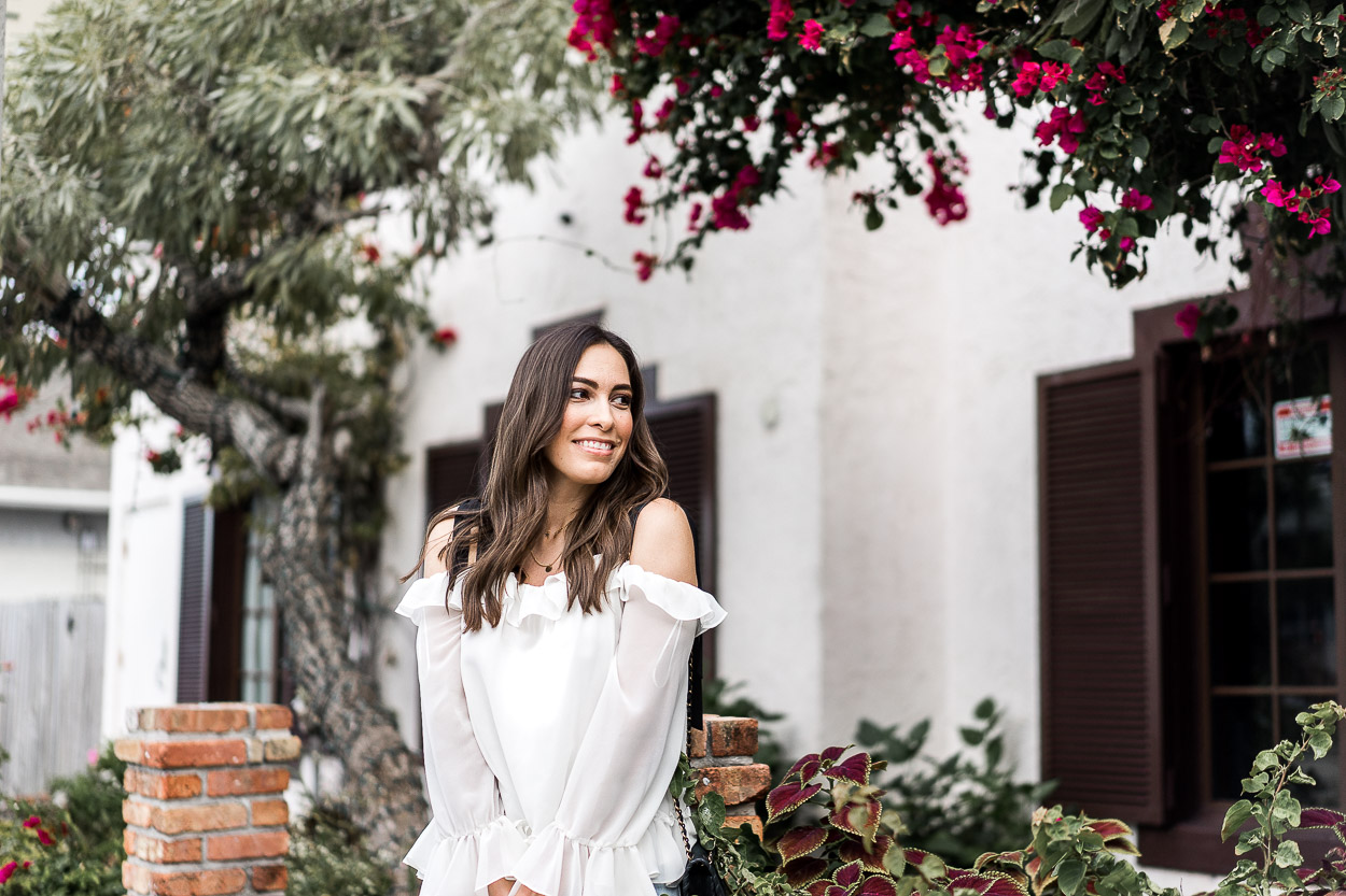 This chic Cece ruffled blouse is perfect Spring style worn by A Glam Lifestyle blogger Amanda