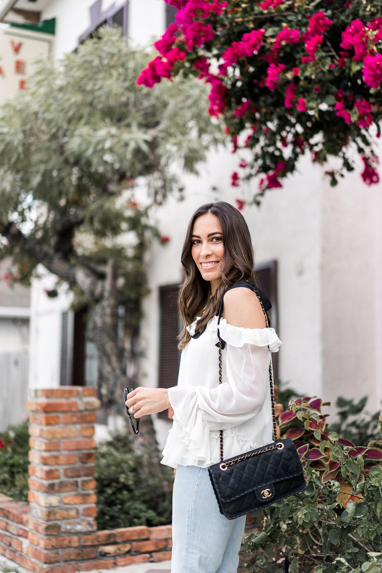 Cece feminine ruffle blouse styled by fashion blogger Amanda of A Glam Lifestyle