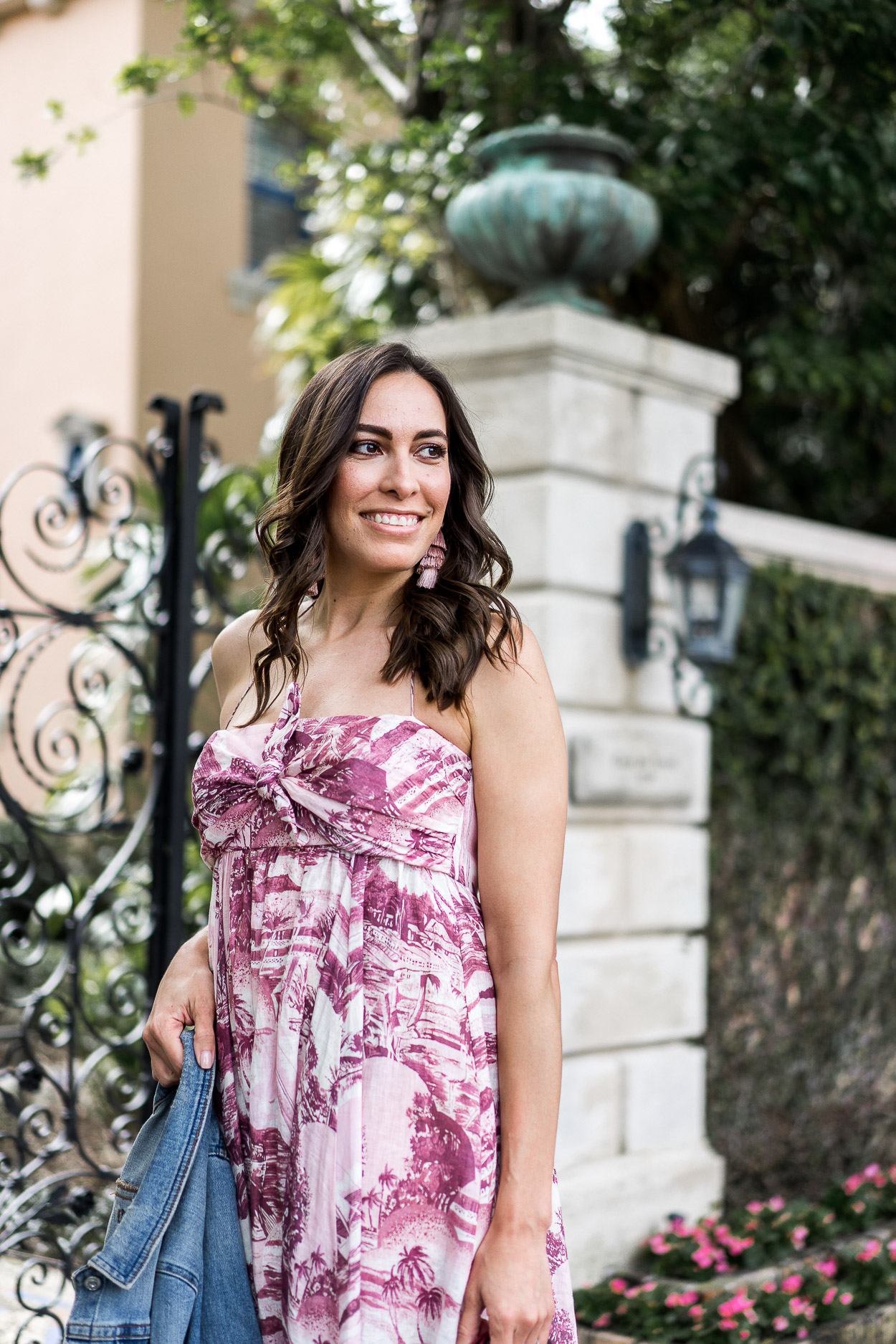 73d98c1006 ... prints like this ZImmermann Kali maxi dress · Club Monaco tassel  earrings make for perfect Palm Beach style accessories styled by Amanda of  A ...