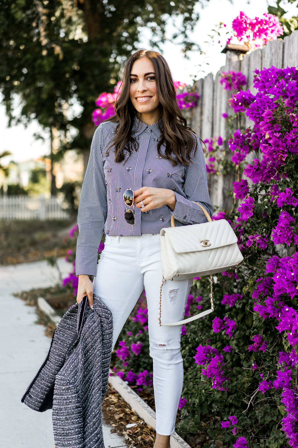 55ff13e4f82 Amanda of A Glam Lifestyle blog styles the Talbots spring collection tweed  blazer and embellished top