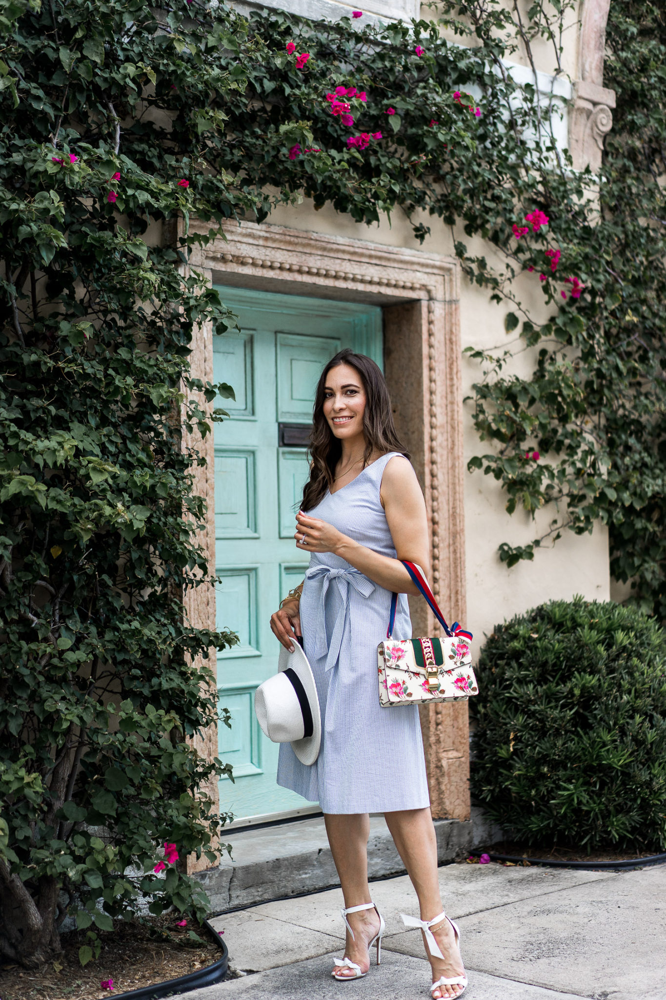 21e2f4308cd Blogger Amanda wears the Talbots seersucker dress with her new Gucci Sylvie  small rose floral shoulder