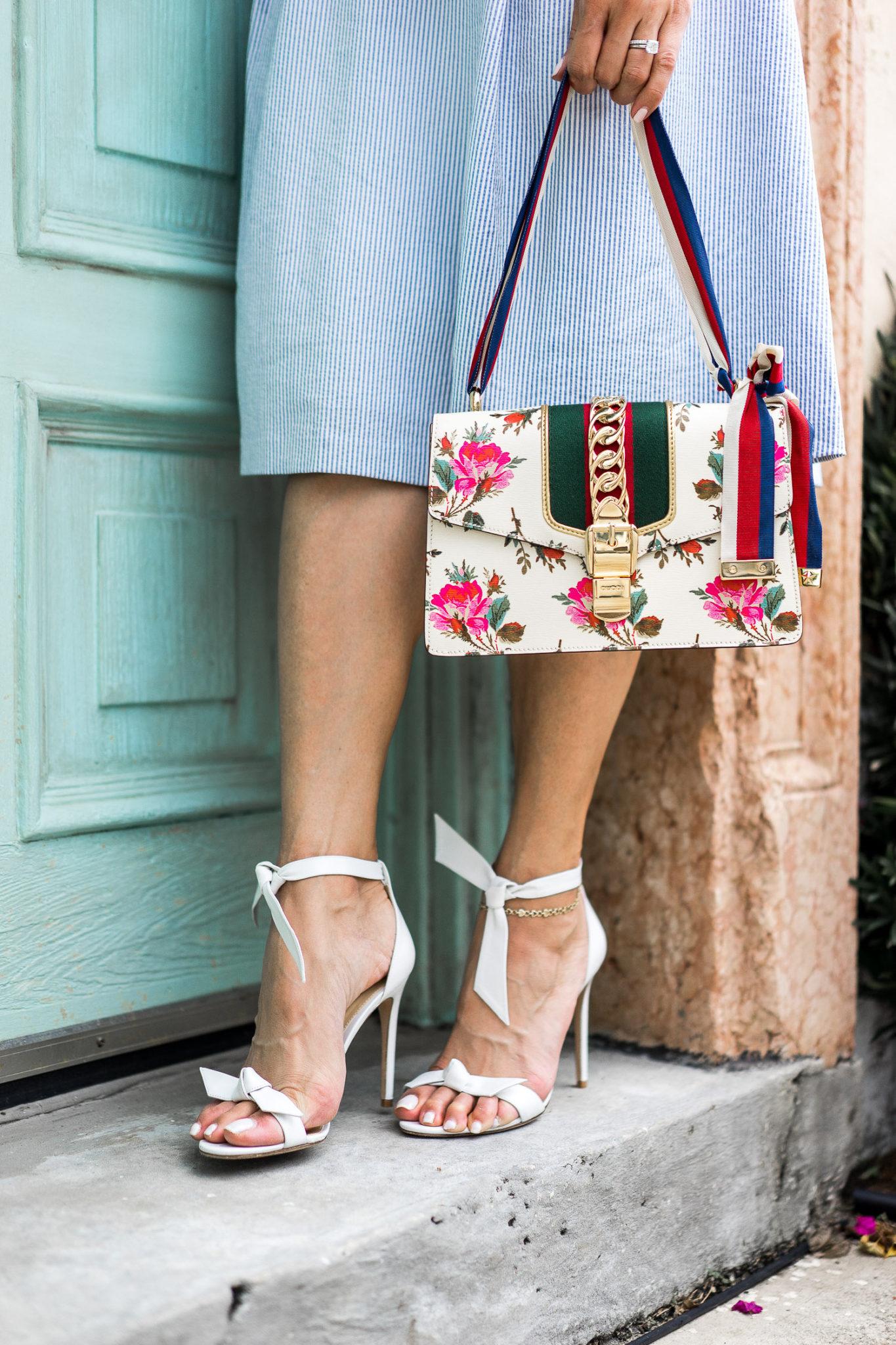 49f074275a4 talbots-seersucker-dress-gucci-sylvie-small-rose-floral-shoulder -bag-alexandre-birman-clarita-sandals-aglamlifestyle-palm-beach-style