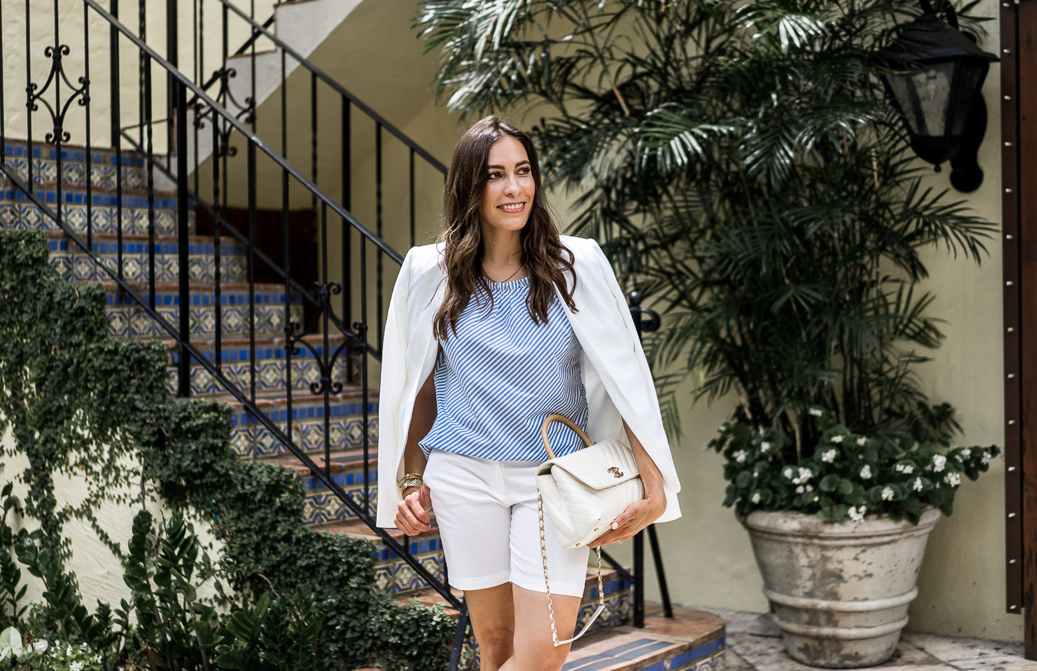 17dea08c309 ... Your Palm Beach style dreams are complete with Talbots white linen  blazer and a pair of ...